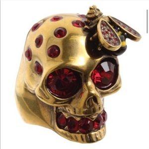 Auth Rare Alexander McQueen Crystal Skull Bee Ring